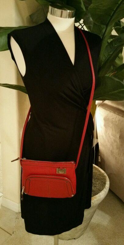 TIGNANELLO Glam Red Leather East west X-body Organizer Purse Bag EUC