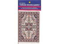 Miniature Turkish Woven Carpet Ivory Blue Red Pipe Felt