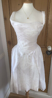 White Grey VIVIENNE WESTWOOD Anglomania Friday Corset Prom Vintage Dress 46 14