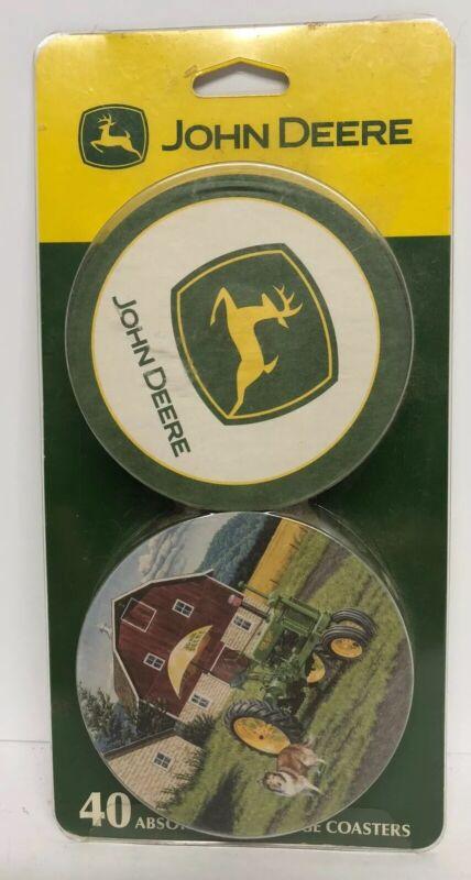 John Deere Coasters Set 40 Coaster Absorbent Beverage Licensed Collectable New