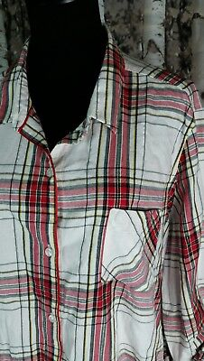 Plaid Flannel Pajama Top - Victoria's Secret Plaid Flannel Button Pajama Shirt Top Sz. XL Red Ivory Silver