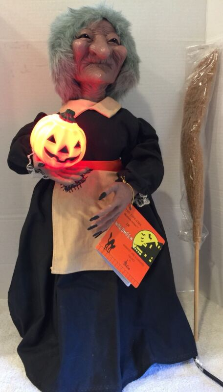 """Vintage 1987 Telco Motionette Halloween Witch 24"""" Tall Mint Working Condition"""