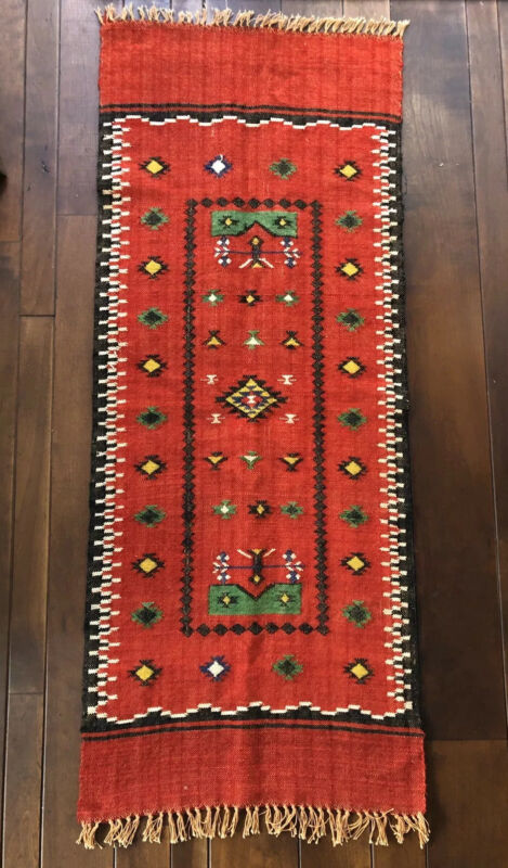 Hand Woven Wool Table Runner Wall Hanging South American Fringe Red Folk Art