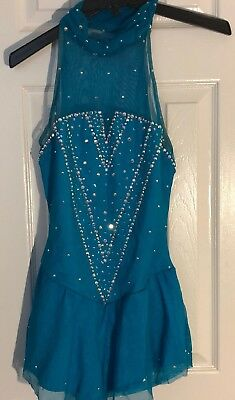 Turquoise Del Arbour Figure Skating Dress with  Swarovski Crystals and High Neck
