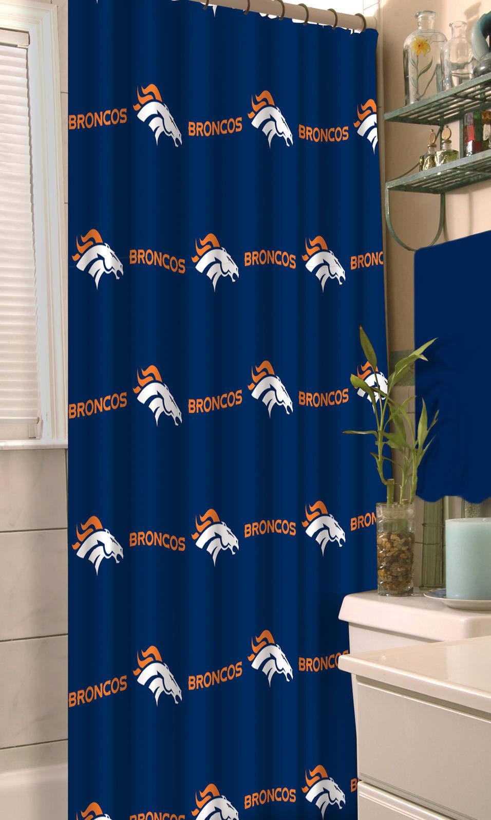 Denver Broncos NFL Shower Curtain Bathroom Football Bath Decor