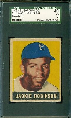 Jackie Robinson 1948 Leaf Rookie  79    Sgc 40   3    Baseball Icon