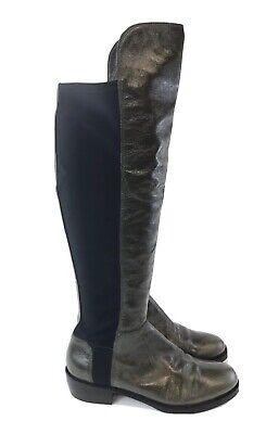Kennel & Schmenger 37 UK4 Khaki Patent Leather Stretch Knee High Zip Heeled Boot