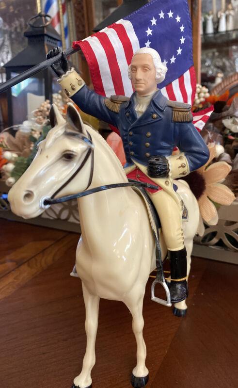 Hartland  50's-60's Gen. George Washington W/ White Walking Horse, Saddle, Flag