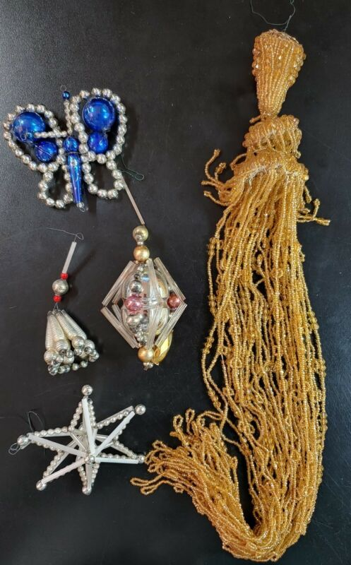 Vintage Lot of Beaded Mercury Christmas Ornaments Garland