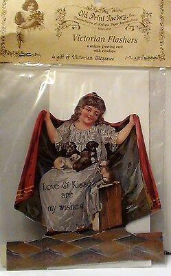 """Victorian FLASHERS GREETING CARD """" Love & Kisses are my wishes"""" W/easel/Envelope"""