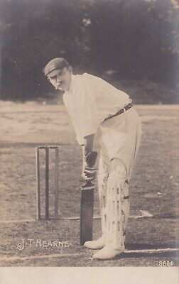 J.T. HEARNE (Middlesex CCC) Rhotophot Edwardian RP cricket postcard Ashes Lord's