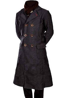 Herren Lang Wolle Umhang Trenchcoat Cosplay Kostüm Sherlock Holmes - Grau Trenchcoat Kostüm