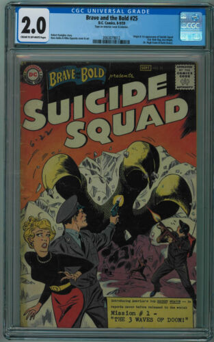 BRAVE AND THE BOLD #25 CGC 2.0 1ST SUICIDE SQUAD CR/OW PGS 1959