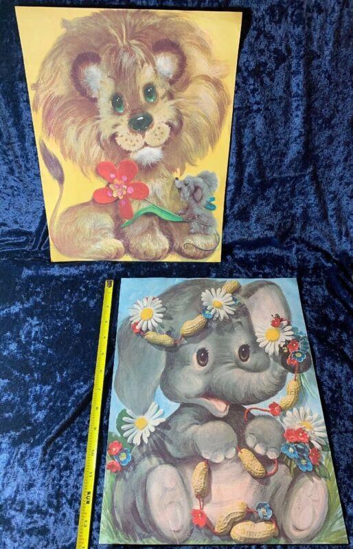 Pair Of Vintage 1970s Children's Art Prints Animals Lion & Elephant 70s Kitsch
