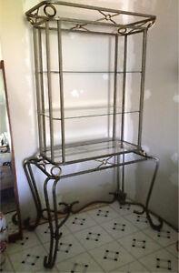 Metal and glass display shelf