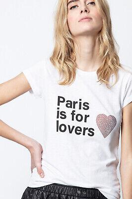 Zadig & Voltaire Women's Top S White Skinny Paris Lovers Heart Rhinestone Tee