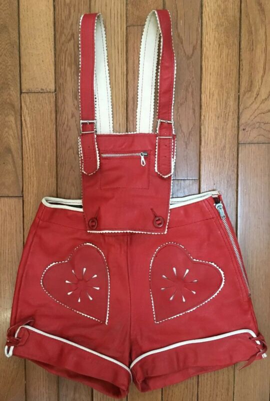 German Lederhosen Child 5 Red Leather Shorts Suspender VTG Xmas