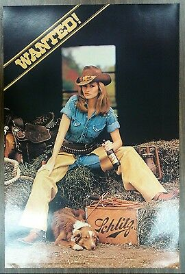Sexy Girl Beer Poster ~ Schlitz Cowgirl in Barn with Dog, Saddle Gun & Ammo Belt
