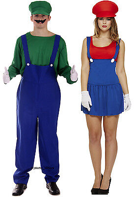 90s Outfit (Mens Luigi + Ladies Mario Couples 80s 90s Plumber Fancy Dress Costume)