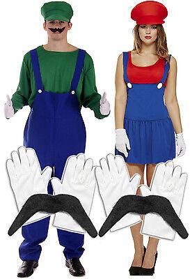 Mens Luigi + Ladies Mario Couples 80s Fancy Dress Costume + Gloves + Moustache