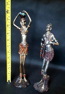 Pair Vintage Large Tall African Tribal Folk Art Figurines Statues Lot