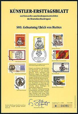 BUND KÜNSTLER-ETB 1988/10 ULRICH VON HUTTEN KÜNSTLER-ERSTTAGSBLATT LTD. EDITION