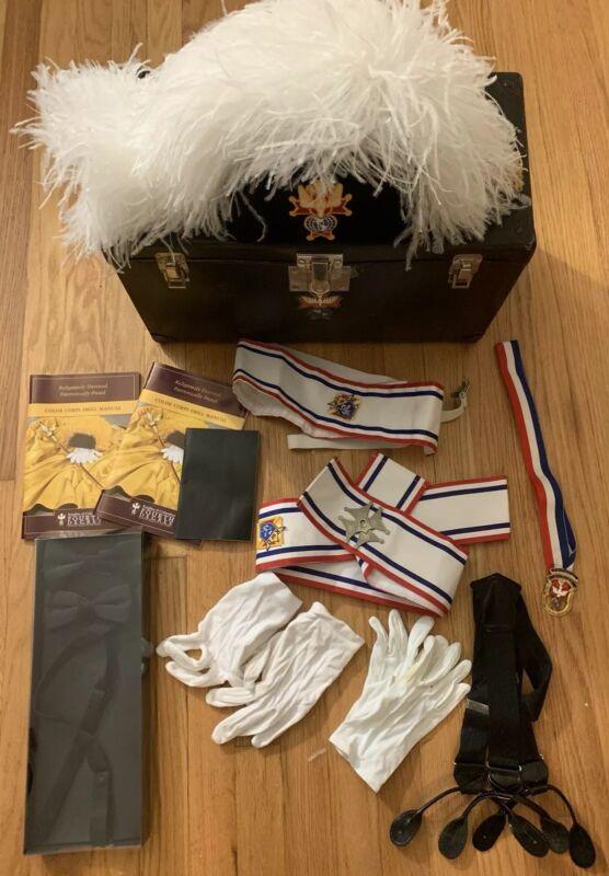 Vintage Knights of Columbus Hat Plume Case Sash Glove Tie Medal Manuals More VG