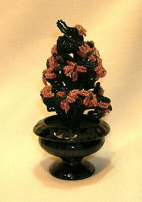 Vintage 20 Beaded Flowers Vase Glass Seed Beads Handmade Floral Pink Green Glass Beaded Flowers