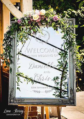 Wedding mirror welcome sign vinyl decal • Bespoke design • Easy DIY + Free - Wedding Signs Diy