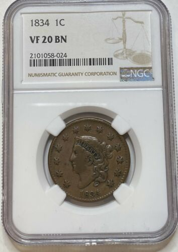 1834 Liberty Matron Head Large Coronet Cent 1C NGC VF20 BN