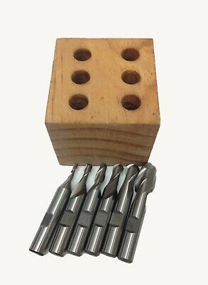 18-12 6 Piece 2-flute M2 Ball Nose End Mill Set High Quality