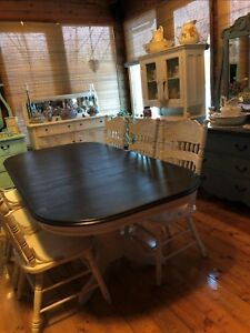 Restored Refinished THICK TOP 2 leaves DOUBLE PEDESTAL table
