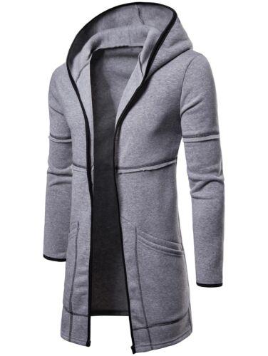 Dettagli su Uomo Moda Cardigan con cappuccio lungo mantello cappotto sciolto Slim Fit Giacca