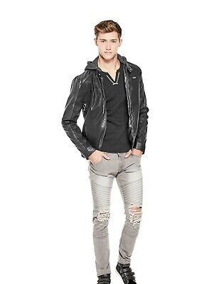 Men's GUESS JACKET - WELTER HOODED COMBO JACKET, Black, Size XS