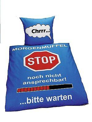 Bettwäsche Rahmenlos Morgenmuffel Stop blau140x200 passend a.f.135x200 Baumwolle