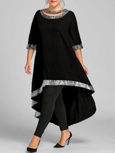 Women's Plus Size Sequined Trim Dip Hem Dress Longline Cut Out Dress
