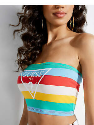 Rainbow Tube Top (Guess Womens Rainbow Striped Logo Strapless Crop Tube Top M XL)