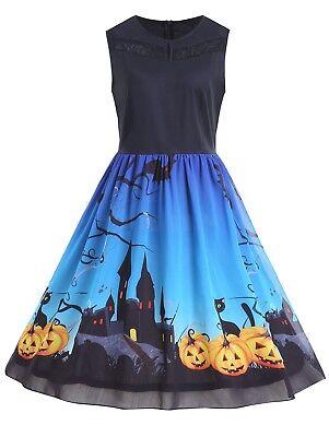 Halloween Fashion (Fashion Halloween Pumpkin Print Vintage Swing Dress Plus Size XL-5XL)
