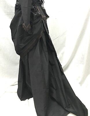 Victorian Black 2PcsGothic Train skirt With Full Bustle Front & Back Size S M - Bustle Skirt Kostüm