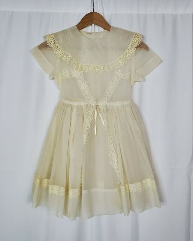 Vintage 50s 60s Girls Communion Dress Sheer Lace Bib Pinafore Organza? Flaws