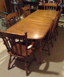 Wood table, 6 chairs