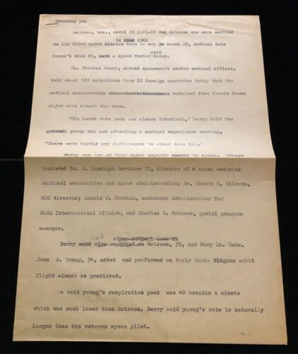 PROJECT GEMINI / GUS GRISSOM & JOHN YOUNG MEDICAL INFO TELETYPE MARY BUBB ESTATE