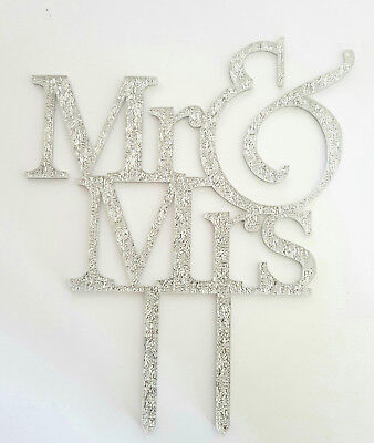 ER-WEDDING &-SILVER GLITTERY ACRYLIC SIGN-16x13CM-DECORATION (16 Cake-topper)