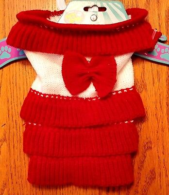 New Size XS Red White Holiday Knit Dog Dress Dog Clothes Rubie's Pet Shop