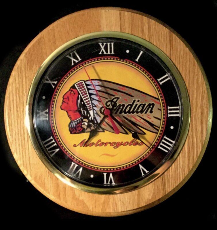 "Vintage Indian Motorcycle Wall Clock*  11"" 🏍 Solid Wood."