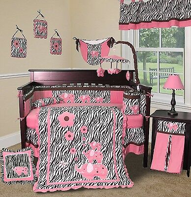 Baby Boutique - Pink Zebra - 13 pcs Crib Bedding Set](Pink Zebra Boutique)