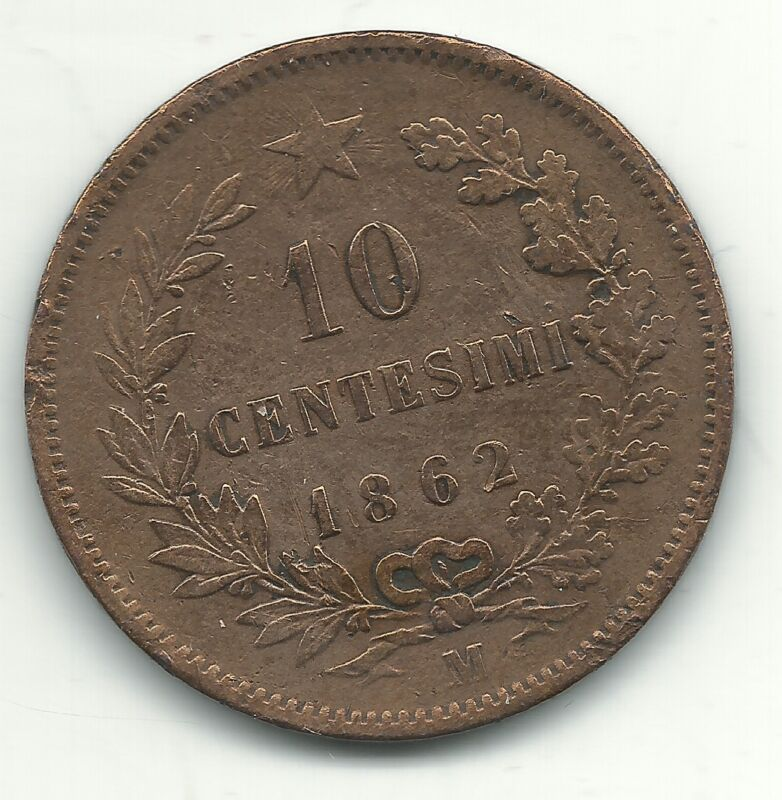 A VERY NICE 1862 M 10 CENTESIMI ITALY COIN-VITTORIO EMANUELE II-FEB522