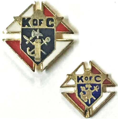2 Vintage Knights of Columbus K of C Catholic Fraternal Order Pins