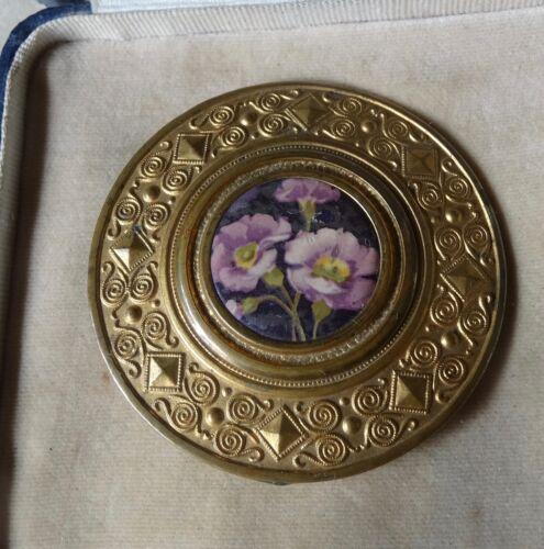 """antique Edwardian 2.5"""" purple flower gold tone dress belt buckle -Q90"""