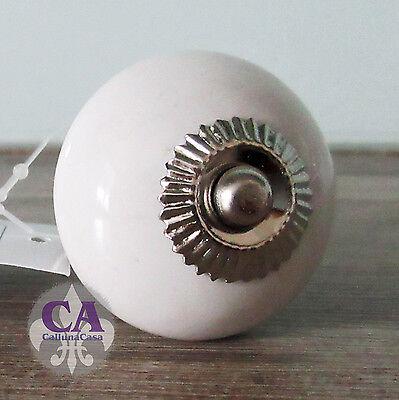 #10532 Möbelknopf Knauf Porzellan Weiß Manschette Antik Stil French Shabby Chic